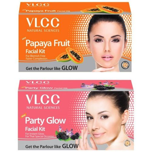 VLCC Original Papaya and Party Glow Facial Kit 120 g(Set of 2)
