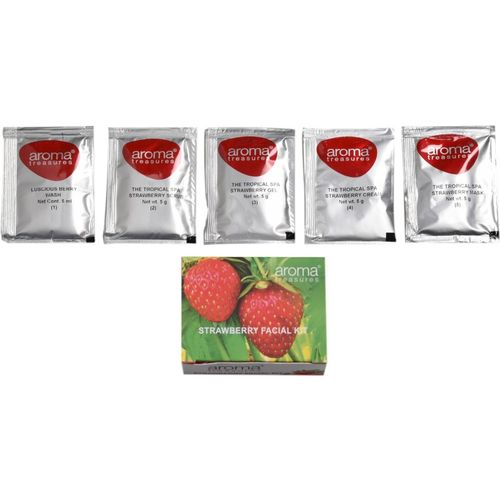 Aroma Treasures ~ Strawberry Single Time Use Facial Kit ~ with Face Wash, Scrub, Moisturising cream, Face Gel and Face mask ~ 25 g
