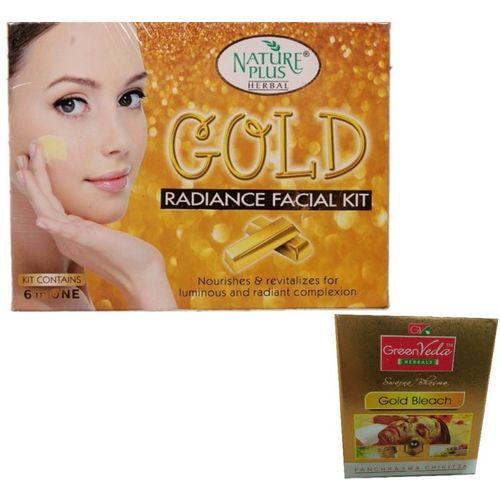 NATURE PLUS HERBAL GOLD RADIANCE FACIAL KIT 330 g(Set of 6)
