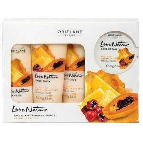Oriflame Sweden fruitsLove Nature Facial Kit Tropical 450 ml(Set of 4)
