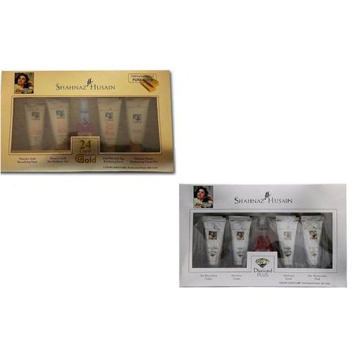 Shahnaz Hussain Facial Kit in GOLD + DIAMOND for Skin Whitening and Skin Hydrating 55 ml(Set of 2)