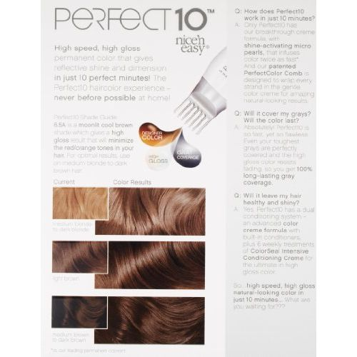 Clairol Perfect 10 By Nice 'N Easy Hair Color 006.5a Lightest Cool Brown 1 Kit (Pack of 2) by Clairol
