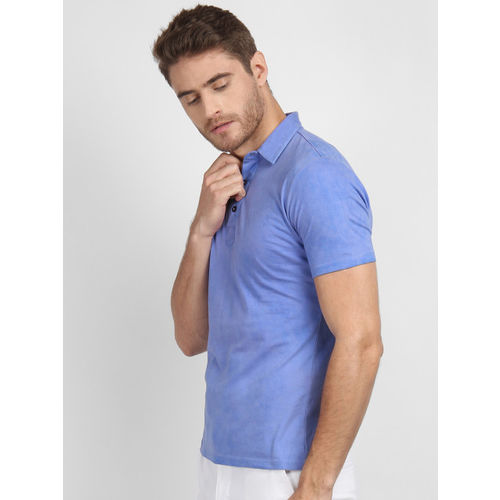 LA LOFT Men Blue Solid Polo Collar T-shirt