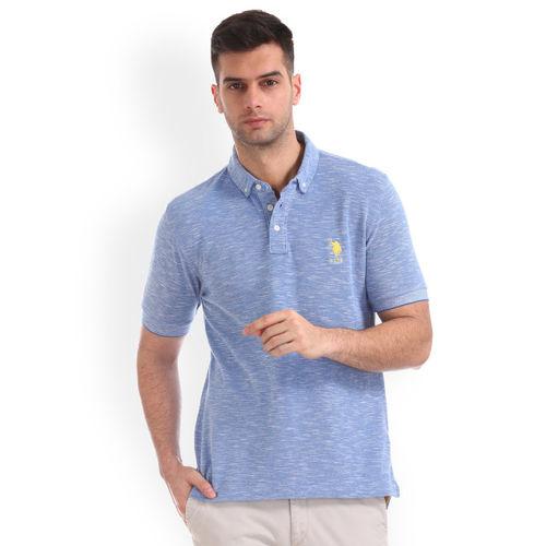 U.S. Polo Assn. Men Blue Solid Polo Collar T-shirt