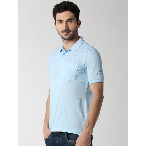 Peter England Casuals Men Blue Solid Polo Collar T-shirt