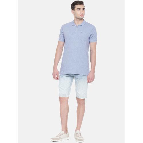 Park Avenue Men Blue Self Design Slim Fit Polo Collar T-shirt