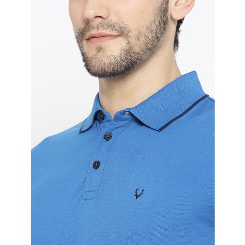 Allen Solly Sport Men Blue Solid Polo Collar T-shirt