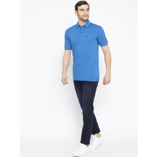 Allen Solly Sport Men Blue Solid Polo Collar T-shirt