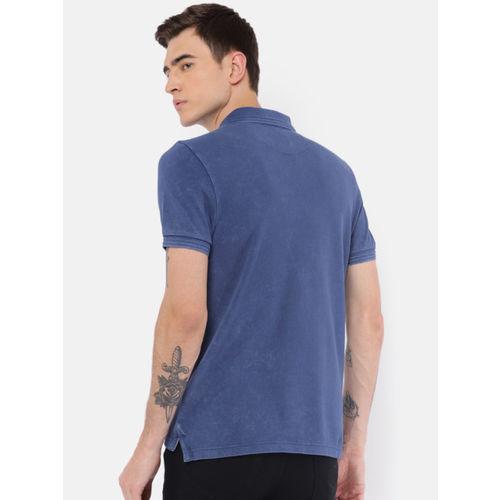 U.S. Polo Assn. Denim Co. Men Blue Solid Polo Collar T-shirt