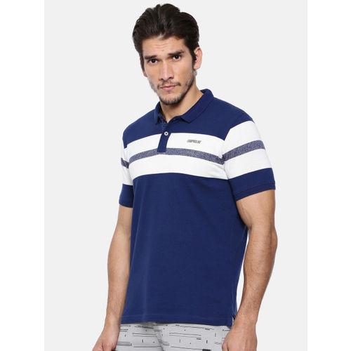 Proline Men Blue & White Striped Polo Collar T-shirt