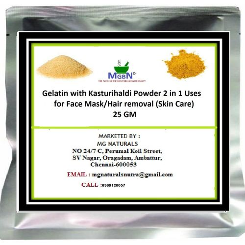 MGBN Gelatin with Kasturihaldi Powder (2 in 1 Uses) for Face Mask/Hair removal (Skin Care) 25 GM(25 g)