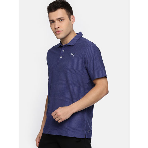 Puma Men Blue Striped Polo Collar T-shirt