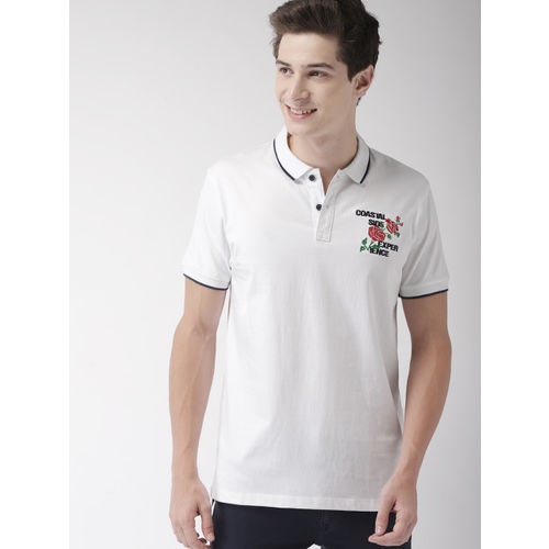 Mast & Harbour Men White Solid Polo Collar T-shirt