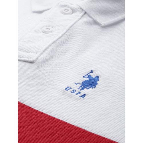 U.S. Polo Assn. Men White & Red Striped Polo Collar T-shirt