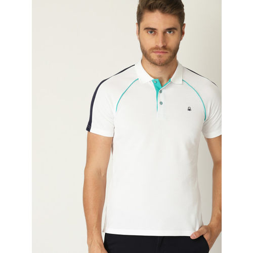 United Colors of Benetton Men White Solid Polo Collar T-shirt