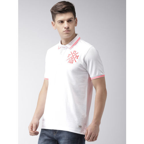 Flying Machine Men White Embroidered Polo Collar T-shirt