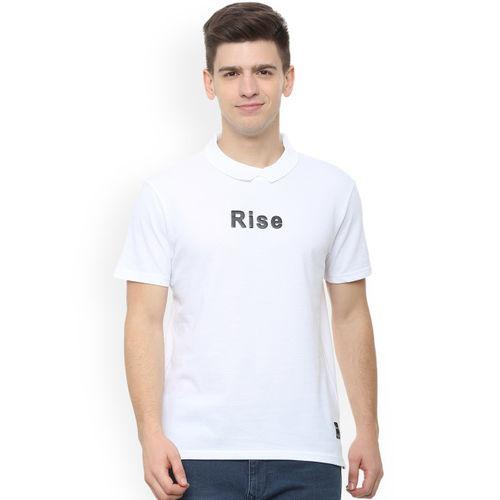 People Men White Printed Polo Collar T-shirt