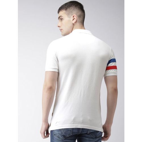 Flying Machine Men White, Blue & Red Colourblocked Polo Collar T-shirt