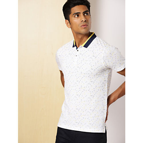 INVICTUS Men White & Yellow Slim Fit Printed Polo Collar T-shirt
