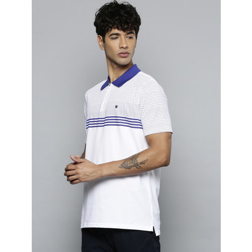 Louis Philippe Men White & Blue Printed Polo Collar T-shirt