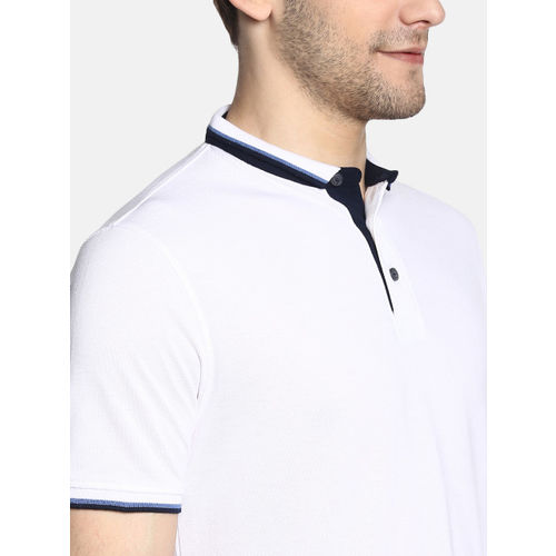 Peter England Casuals Men White Solid Polo Collar T-shirt