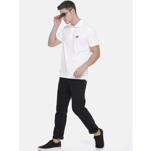 The Indian Garage Co Men White Solid Polo T-shirt