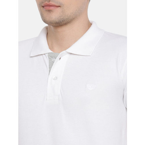FIFTY TWO Men White Solid Polo Collar T-shirt