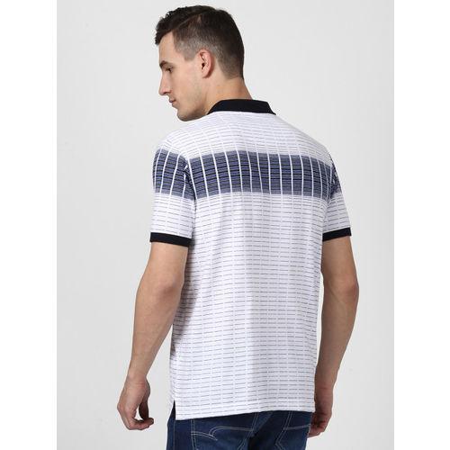 Monte Carlo Men White Striped Polo Collar T-shirt