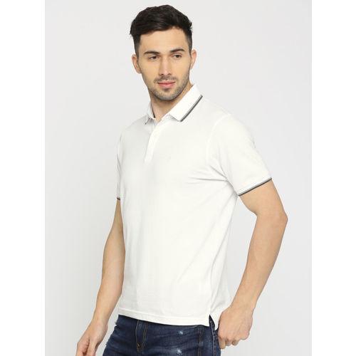 Indian Terrain Men White Solid Polo Collar T-shirt