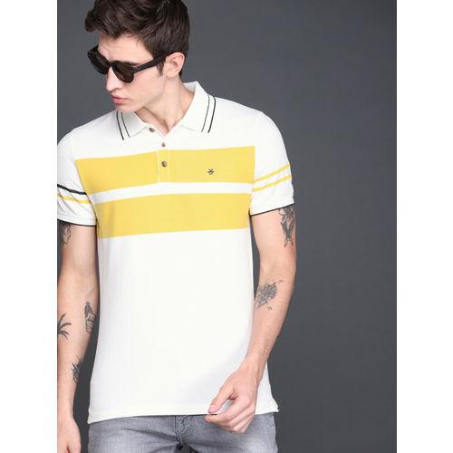 WROGN Men White & Mustard Yellow Striped Polo Collar T-shirt