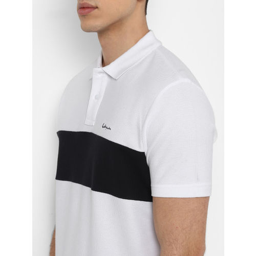 Red Tape Men White Colourblocked Polo Collar T-shirt