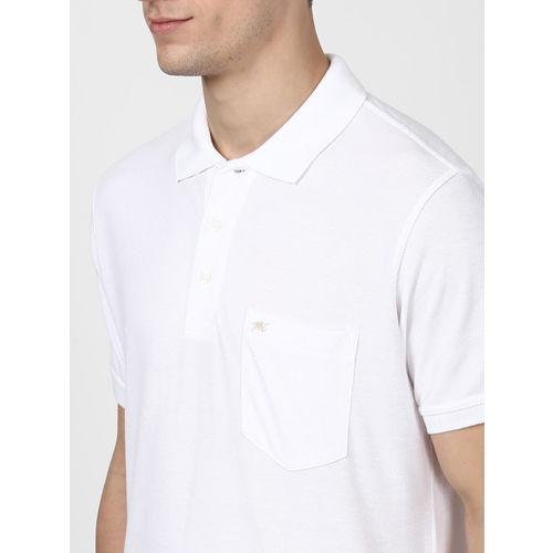 Monte Carlo Men White Solid Polo Collar T-shirt