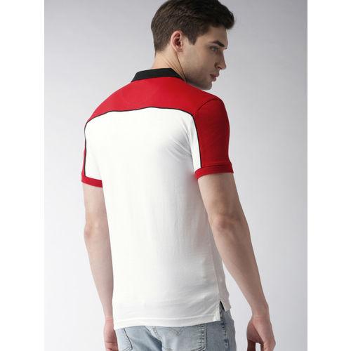 Levis Men White & Red Colourblocked Polo Collar T-shirt