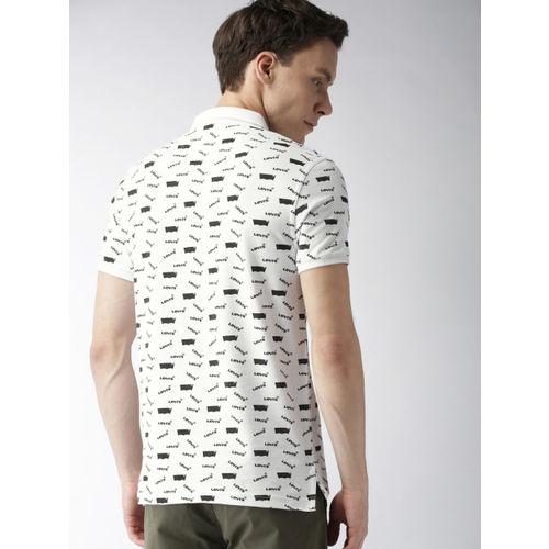 Levis Men White & Black Printed Polo Collar T-shirt