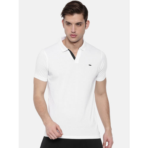Proline Men White Solid Polo Collar T-shirt