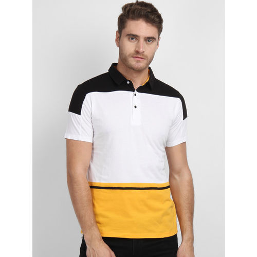 LA LOFT Men White Colourblocked Polo Collar T-shirt