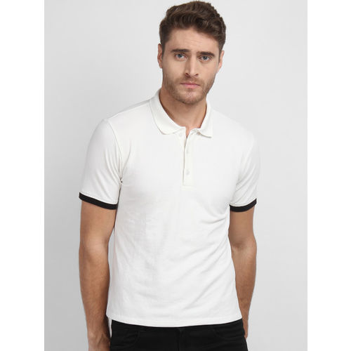 LA LOFT Men White Solid Polo Collar T-shirt