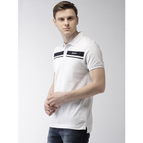Kappa Men White & Navy Blue Solid Polo Collar T-shirt