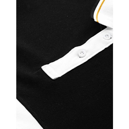 Moda Rapido Men White & Navy Blue Striped Polo T-shirt