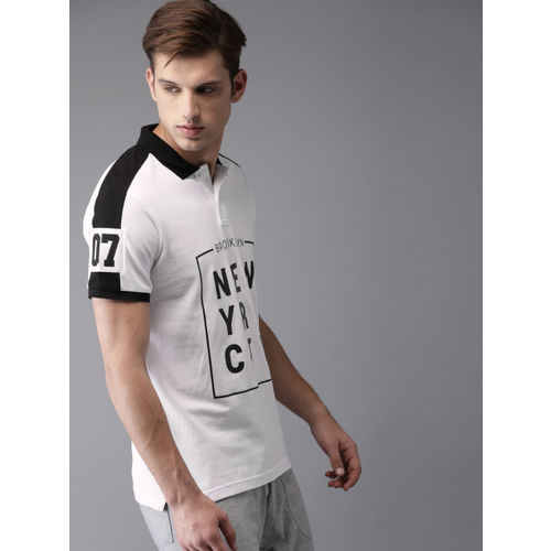 Moda Rapido Men White & Black Printed Polo Collar T-shirt
