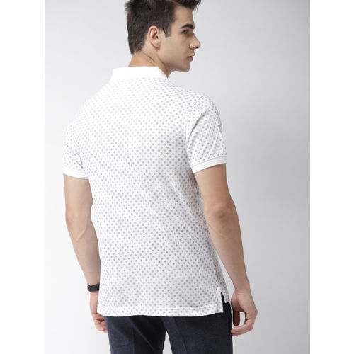 Indian Terrain Men White & Blue Printed Polo Collar T-shirt