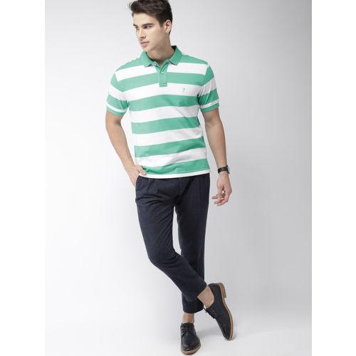 Indian Terrain Men White & Green Striped Polo Collar T-shirt