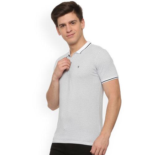 V Dot Men White Printed Polo Collar T-shirt