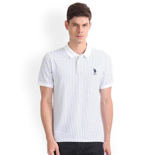 U.S. Polo Assn. Denim Co. Men White Printed Polo Collar T-shirt