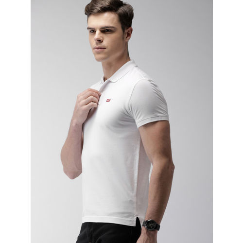 Levis Men White Solid Polo Collar T-shirt