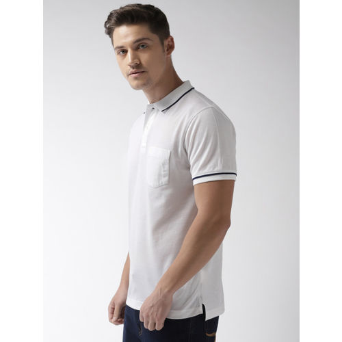 Indian Terrain Men White Solid Polo T-shirt