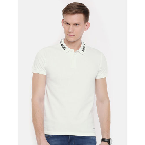 Calvin Klein Jeans Men White Solid Polo Collar T-shirt