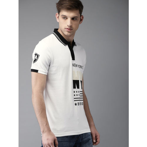 Moda Rapido Men White Printed Polo Collar T-shirt