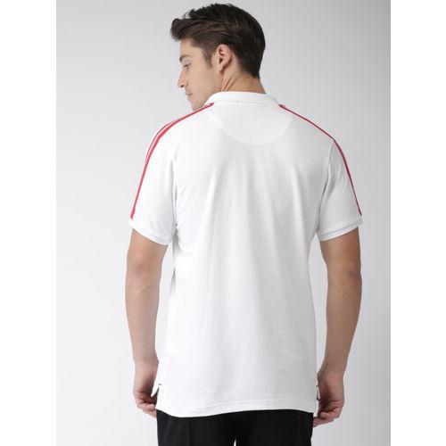Bossini Men White Solid Polo Collar T-shirt