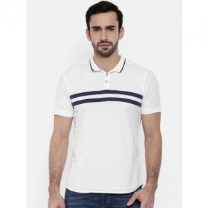 Wrangler Men White Striped Polo Collar T-shirt